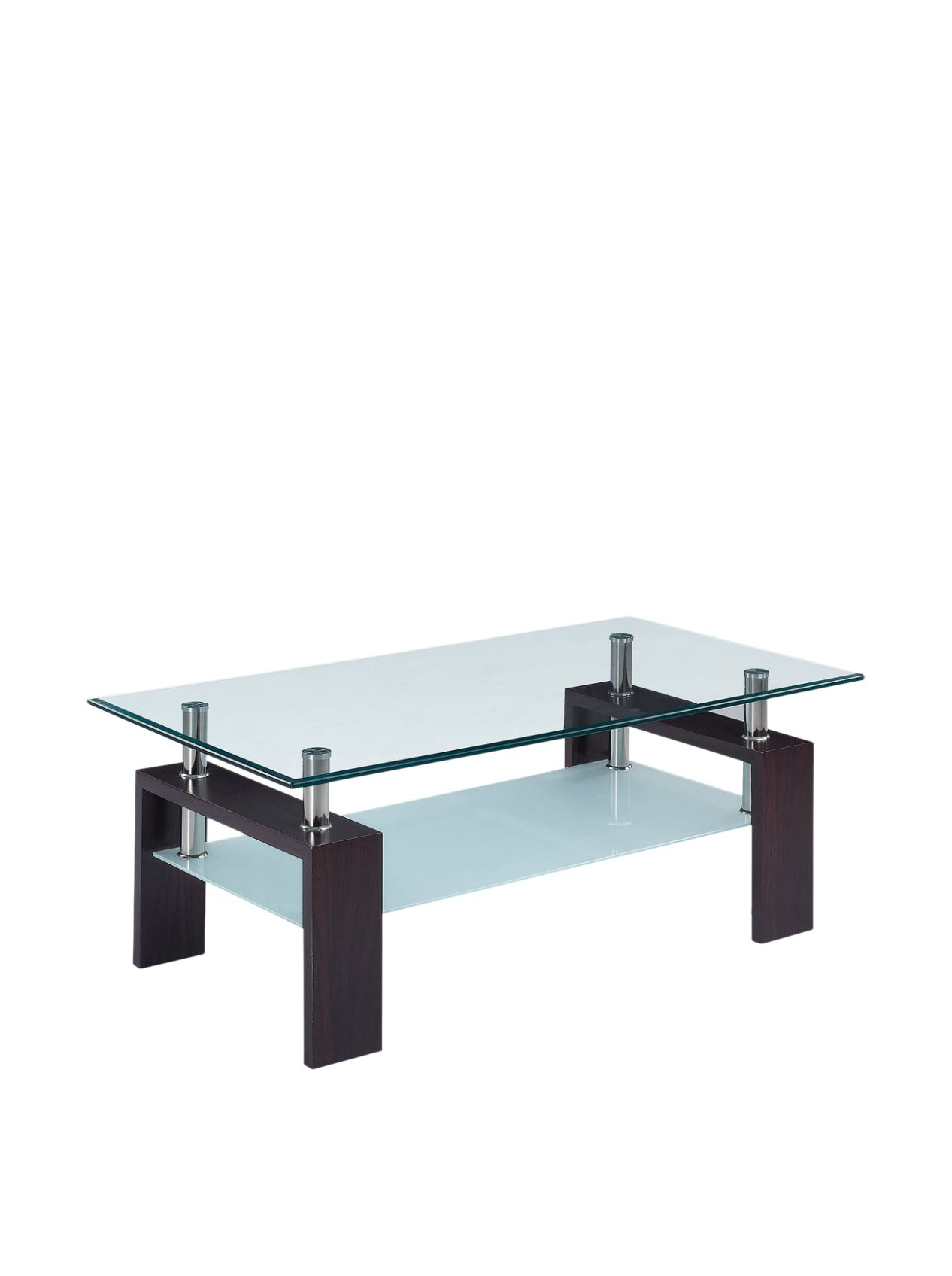 Global Furniture Usa T646 Clear Frosted Occasional Coffee Table With Dark Walnut Legs