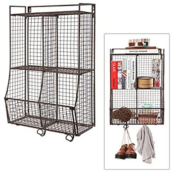 Wall Mounted / Collapsible Brown Metal Wire Mesh Storage Basket Shelf Organizer Rack w/ 2 Hanging Hooks
