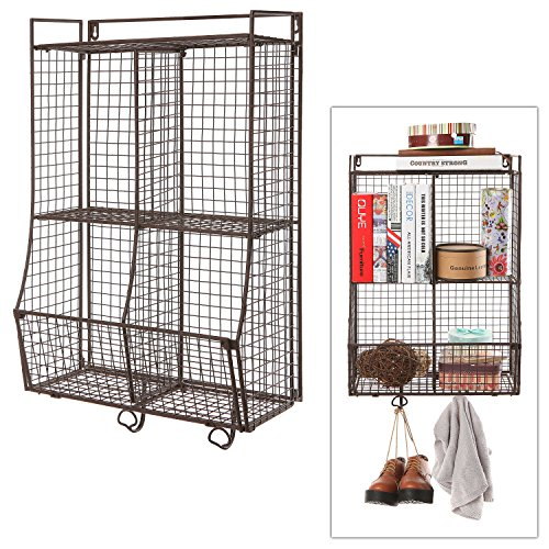 Wall Mounted / Collapsible Brown Metal Wire Mesh Storage Basket Shelf Organizer Rack w/ 2 Hanging Hooks (Wall Mountable Wire Shelf compare prices)