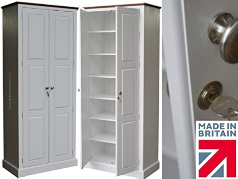Tall White Painted Cupboard, 2M Solid Wood Kitchen Larder, Storage, Cabinet Unit. No flatpacks, No assembly (CUPT1K3)