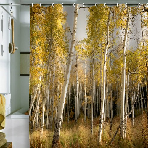 DENY Designs Bird Wanna Whistle Golden Aspen Shower Curtain, 69 by 72-Inch