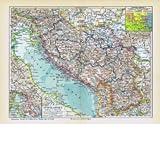 Südslawien. Historische alte Landkarte (Sammlerstück) von 1929.