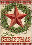 "Carson - ""Rustic Christmas"" 28""X40"" Merry Christmas Wreath, Star House Flag"