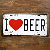 "(15x30 cm) Home Decor Wall Hanging Art Antique ""I Love Beer"" Imitation Metal Craft Tin Sign Pianting"