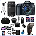 Canon EOS 70D DSLR Camera with 18-135mm f/3.5-5.6 STM Lens (USA Warranty) + EF 75-300mm f/4-5.6 III Telephoto Zoom Lens + Auto Focus/ TTL Metering Dedicated Flash + High Quality 2.2X Telephoto & .43X Wide Angle Lenses + 48GB Accessory Bundle Kit