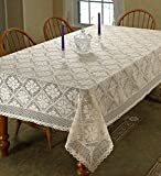 """Stars Crochet Vintage Lace Design Tablecloth 60"""" by 120"""" Oblong / Rectangle Color Ivory"""