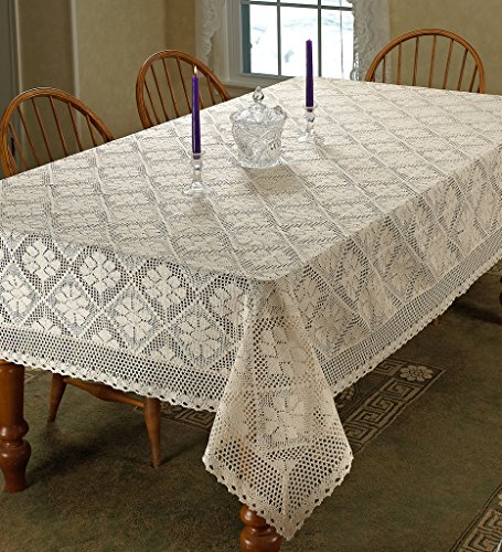 Stars Crochet Vintage Lace Design Tablecloth 60