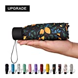 NOOFORMER mini Travel sun&rain Umbrella - Light Compact Parasol with 95% UV Protection for Men Women Multiple Colors (Color: C4-Fruit Tree)