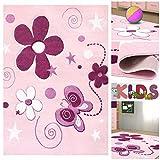 Kinderteppich Spielteppich mit Schmetterlingen & Blumen in Rosa Pink Lila