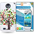 CoverON® ZTE Vital / Supreme Hard Plastic Slim Case Cover Bundle with Clear Anti-Glare LOT 3 LCD Screen Protector - Green Orange Contempo Tree