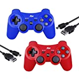 PS3 Controller Wireless Joystick Game Controller 2 Pack with Dual Shock and Free Charger Cable Compatible with Playstation 3 PS3 (Red+Blue) (Color: Red+Blue)