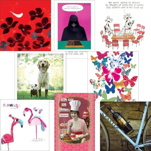 Greeting cards collection. Smile 1 - 8 contemporary and humorous cards. Premium quality birthday cards.