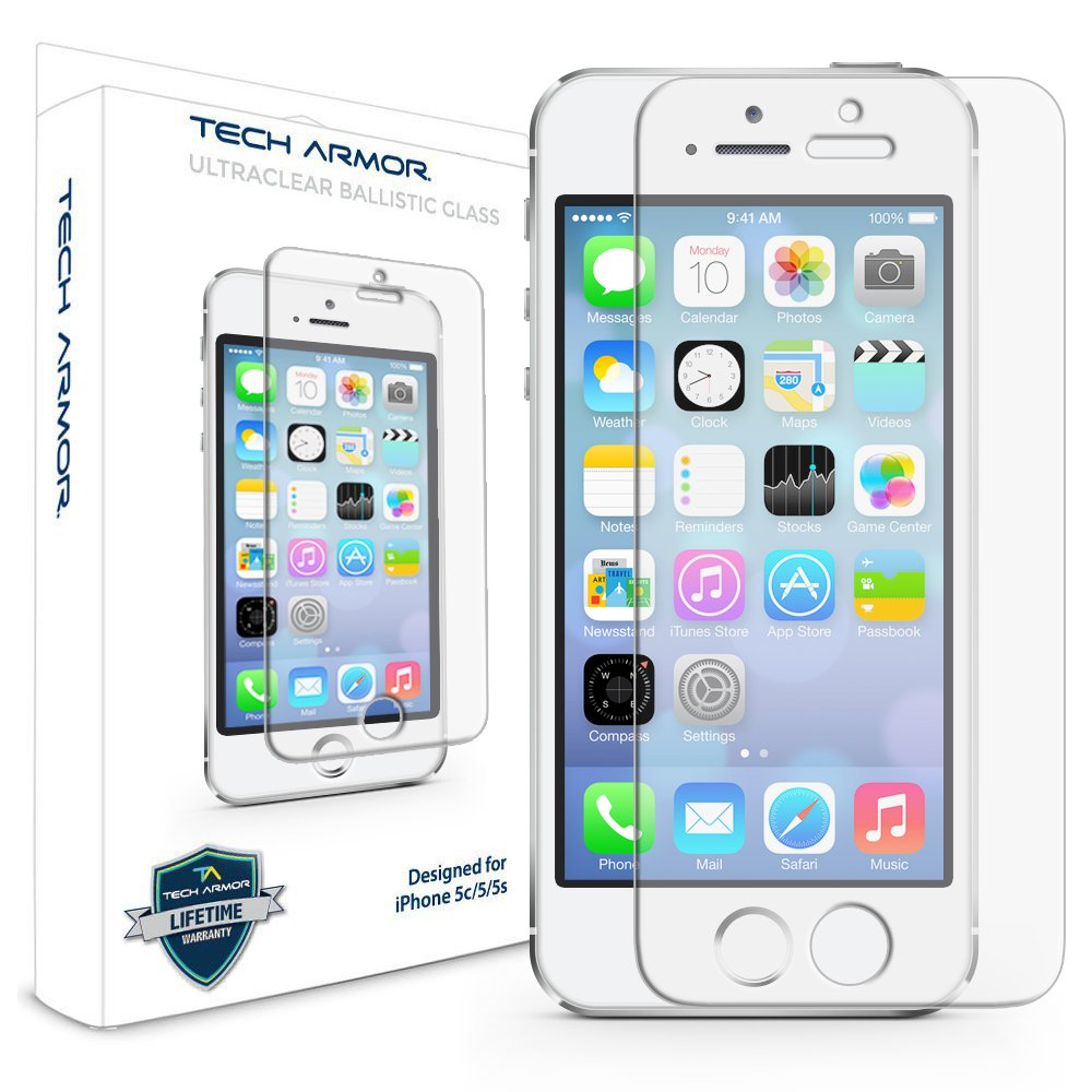 Tech Armor Apple iPhone 5/5c/5s/SE Premium Ballistic Glass Screen Protector ? Protect Your Screen from Scratches and Drops