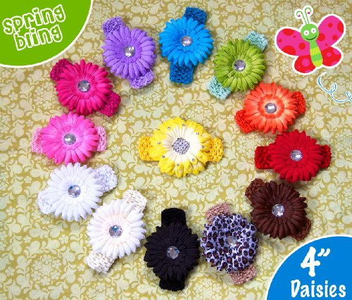 13 Large Assorted 'Ema Jane' Gerber Daisy Flower Hair Clips with Soft Stretch Crochet Child Headbands - Infants, Baby, Girls, to Toddlers to Young Girls (26 Pack, 13 Flowers + 13 Headbands))