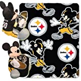 NFL Pittsburgh Steelers Mickey Mouse Pillow with Fleece Throw Blanket Set