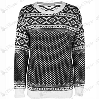 New Womes Ladies Snowflake Xmas Long Sleeves Knitted Pullover Sweater Jumper Top