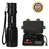 1000 Lumens Tactical Flashlight Zoomable Small Rechargeable Led Flashlights with Adjustable Focus and 5 Light Modes for Kids Women Camping Hiking Emer