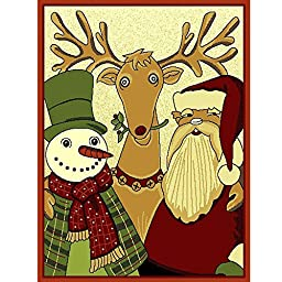 Santa & Friends Holiday Christmas Rug 3ft4in X 4ft6in + Free Shipping
