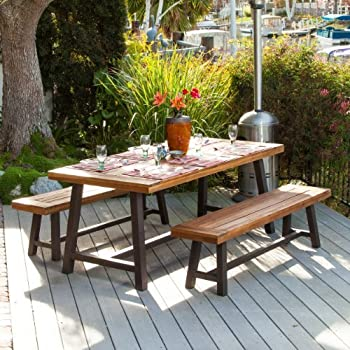 Bowman Wood Picnic Table Style Outdoor Dining Set with Bench Seats