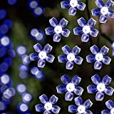 Solar LED String Lights - 39.1ft - 100 Led Cold White Flower - 9+ Hours Illumination - Waterproof - Outdoor Solar Fairy Lights - Christmas Lights - Ambiance Lights - Party Wedding Decorations - Cold White