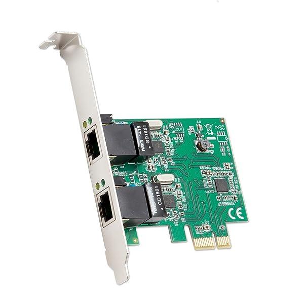 Syba Dual Port Gigabit Ethernet PCI Express 2.1 PCI-E x1 Network Adapter Card (NIC) 10/100/1000 Mbps Card with Realtek RTL8111 Chipset (Tamaño: 2 port)
