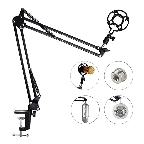 Upgraded Adjustable Microphone Suspension Boom Scissor Arm Stand with Shock Mount Mic Clip Holder 3/8'' to 5/8'' Screw Adapter -for Blue Yeti, Snowball & Other Microphones (stand with adapter) (Color: Black, Tamaño: stand with adapter)