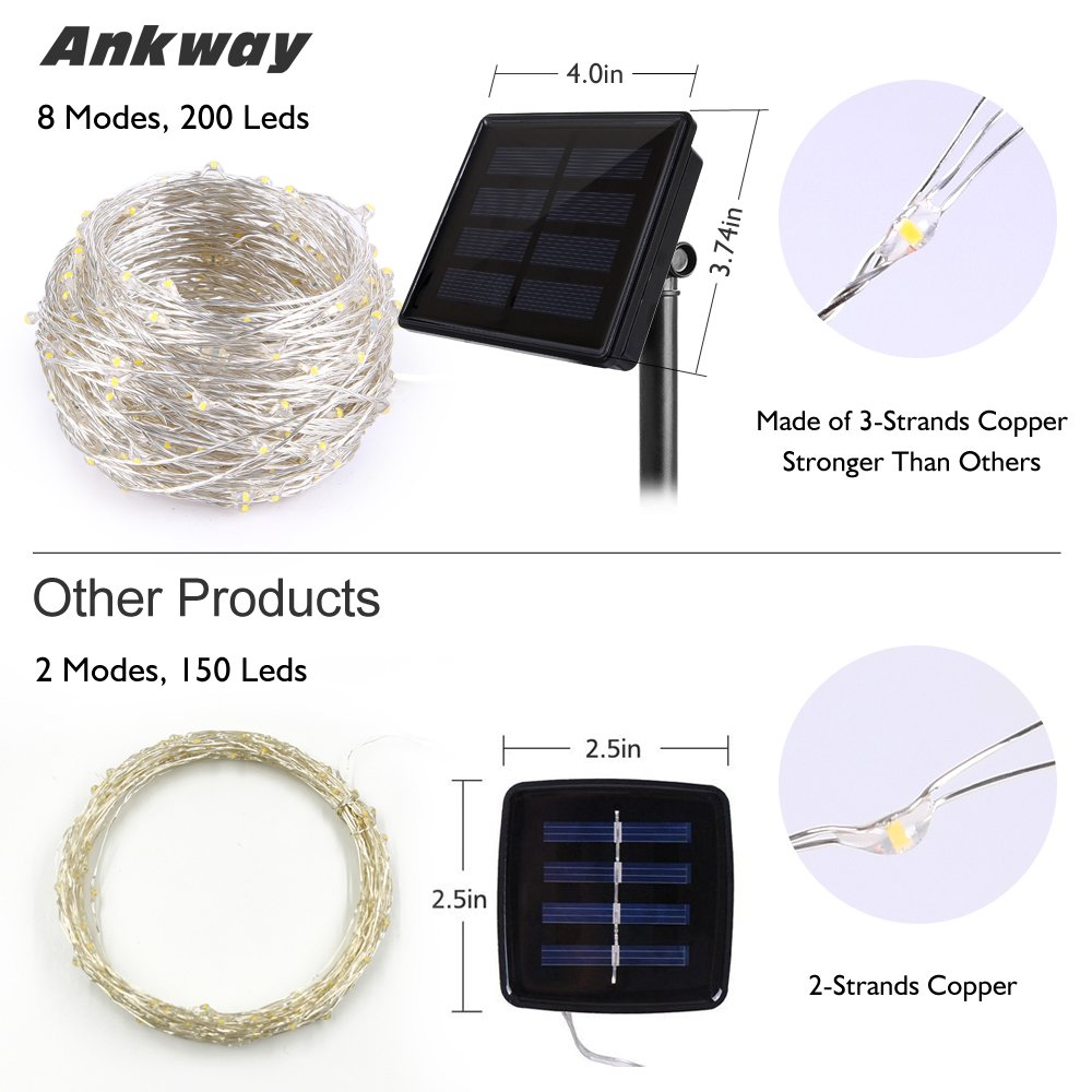 Solar String Lights (72 ft, Waterproof, 8 Modes), Ankway Upgraded Bendable Copper Wire High Efficiency 200 LED Fairy Warm White Outdoor String Lights for Garden, Patio, Wedding and Christmas Party