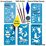Face Painting Stencils Tool Kit Supplies & GIFT Bag, Professional USA Body and Face Paint Stencil Accessory Set: BEST 24 Boys and Girls Reusable Designs, Brushes, Sponges, Glitter. Kids just love it.