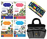 Art Therapy Kit Coloring Books for Adults with 24 Pencils and Artist Tool Bag 6 Piece Bundle