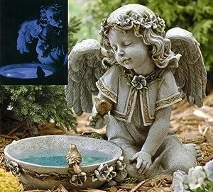 "14"" Joseph's Studio Solar Powered Bird Bath Angel Outdoor Garden Statue"