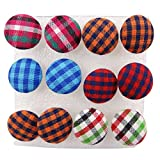 Wholesale 6 Pairs Mixed Colours Cloth Button Plastic Ear Pin Piercing Stud Earrings Boho Style Plaid