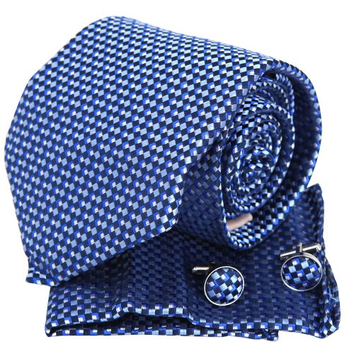Navy Blue Checkers 4 Piece Handkerchiefs In Gift Pack Men/'s Pocket Squares Y/&G