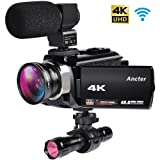 4K Camcorders, 48MP Ultra HD WiFi Video Cameras with IR Night Vision, 3.0 inch Touchscreen Digital Camcorder with Enhanced External Microphone and Wide Angle Lens (2 Batteries Included) (Tamaño: SK18)