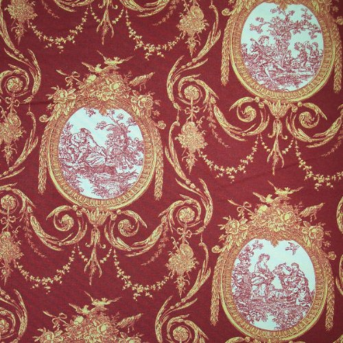 54 wide fabric vignette toile red cranberry waverly fabric by the yard other. Black Bedroom Furniture Sets. Home Design Ideas