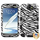 Phonetatoos (TM) for Galaxy Note II (T889/I605/N7100) Zebra Skin/Black TUFF Hybrid Phone Protector Cover - Lifetime Warranty