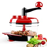 Dongke Manual Food Crusher,Meat Grinder Baby Food Processor Chopper For Vegetable Fruits Celery Onions Hand-Powered Mincer Blender Mixer Processor (Color: Red)