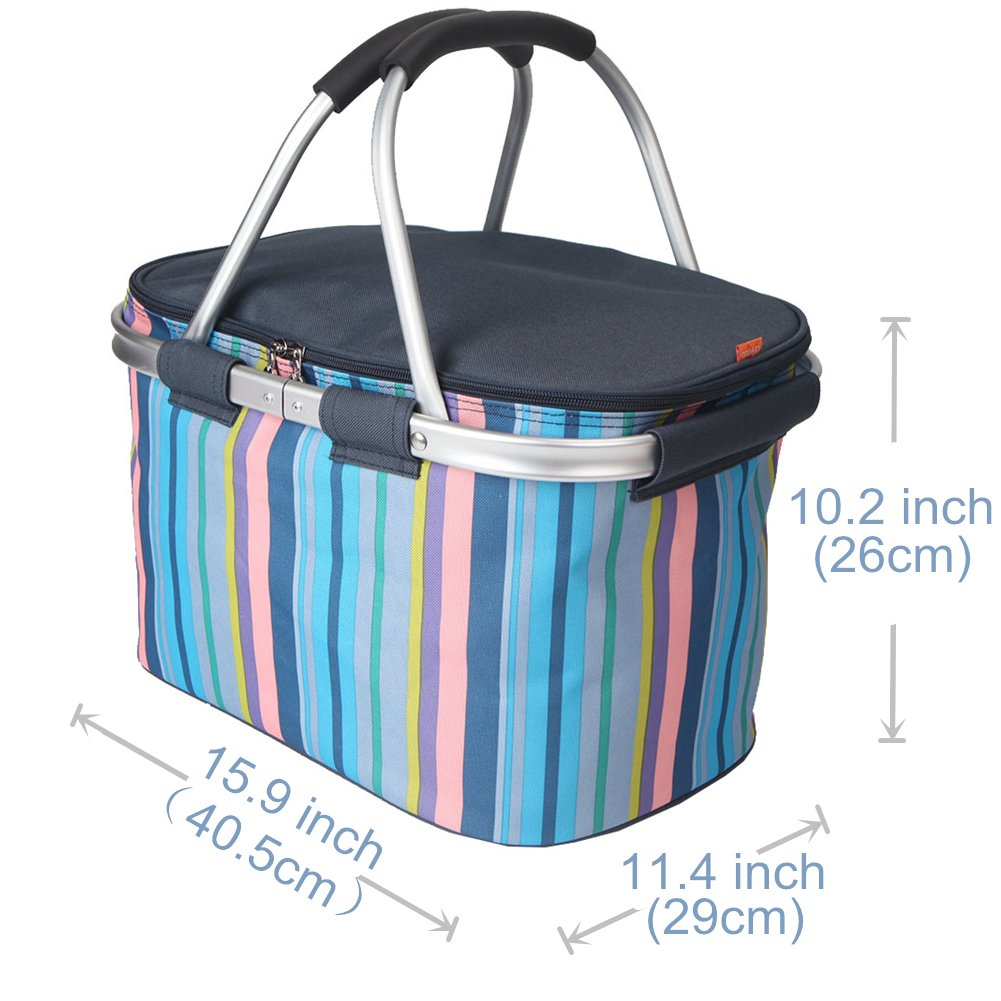 Yodo Collapsible Soft Cooler Bag 18L/25L - Insulated up to 4 - 6 hours, Roomy for Family Reunion, Party, Beach, Picnics, Sporting Music Events, Everyday Meals to Work
