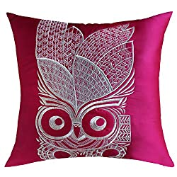 13 Odds Highly Stylised Owl Quilted & Embroidery Cushion Cover - Magenta & Steel Silver