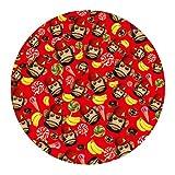 [FOR U DESIGNS]個性的な柄 円形 マット 滑り止め付き 保護マット mat 直径約60cm 可愛い猿ちゃん3