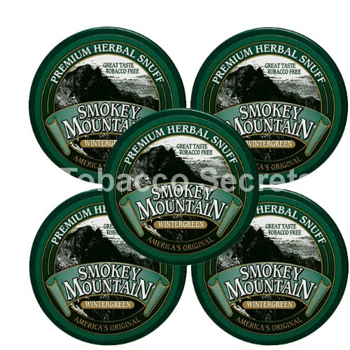 Smokey Mountain Snuff, 5 Cans - Wintergreen - Tobacco Free, Nicotine Free