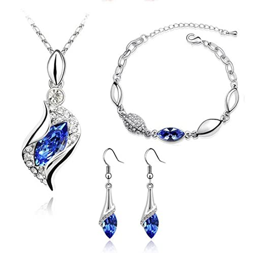 Exquisite Swarovski Crystal Pendant, Earring & Bracelet Set For Women by ETERNO FASHIONS at amazon