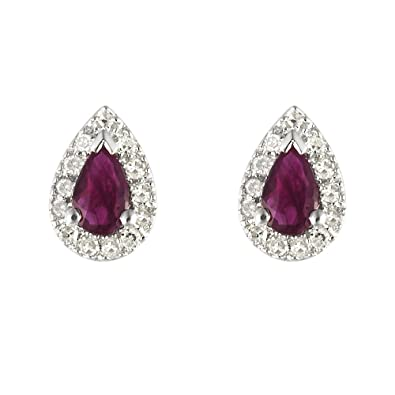 Ivy Gems 9ct White Gold Ruby and Diamond Tear Drop Stud Earrings