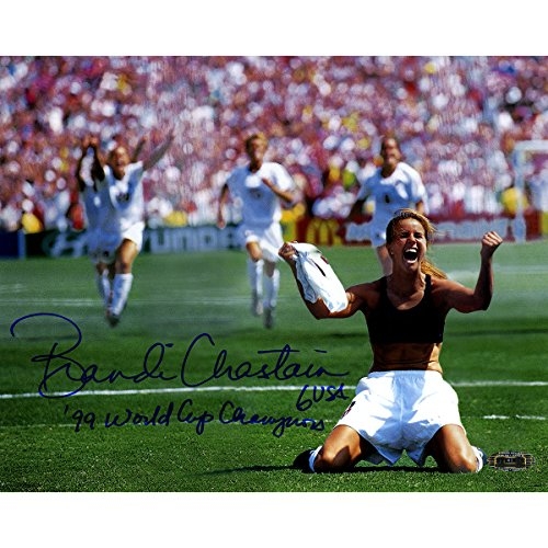 Brandi Chastain Hand Signed Pk Celebration 8 Inches by 10 inches Photo Horizontal with 99 World Cup Champions Insc.