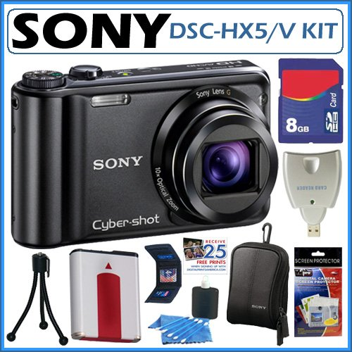 Sony DSCHX5 DSC-HX5V 10.2MP CMOS Digital Camera with 10x Wide Angle Zoom with Optical Steady Shot Image Stabilization and 3.0 inch LCD + 8GB ACCESSORY KIT
