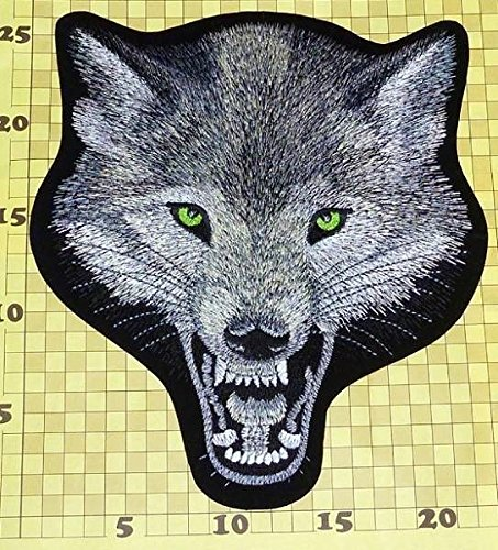 Large Biker Back Patch Lone Wolf Head Thailand Silk Embroidered Iron On Huge 9