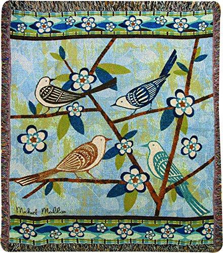 """Bird Watching"" Bird Art Print Tapestry Throw Blanket 50"" X 60"" front-989774"