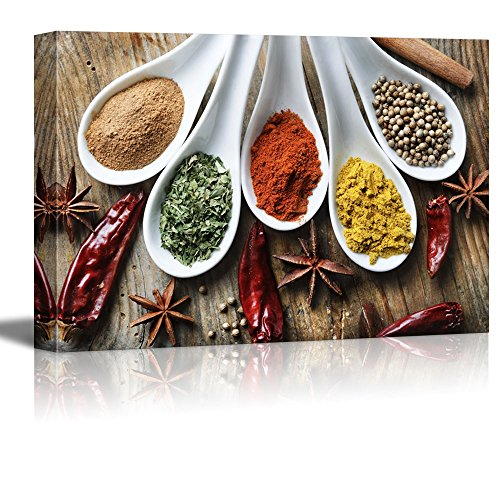 Wall26 Canvas Prints Wall Art - Still Life Various of Spices on Rustic Wooden Table Food/Kitchen Concept   Modern Wall Decor/ Home Decoration Stretched Gallery Canvas Wrap Giclee Print - 24
