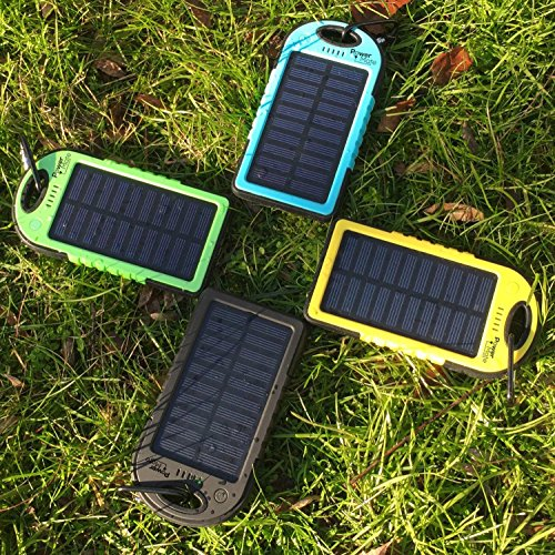 PowerMate Solar Cell Phone Charger Dual USB Port Power Bank 5000mAh Portable Solar Charger for Cell Phone, Tablet, Camera, iPhone, iPad [Water-Resistant,Shock-Resistant and Dust-Proof]