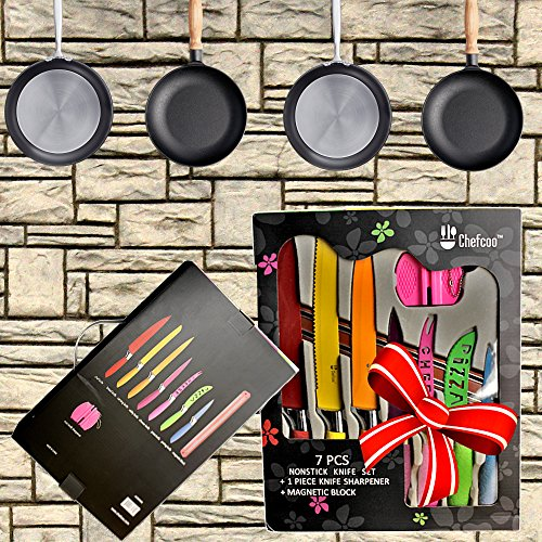 Kitchen Knife Set Plus Magnetic Strip And Sharpener By Chefcoo Awesome Color Addition To Your