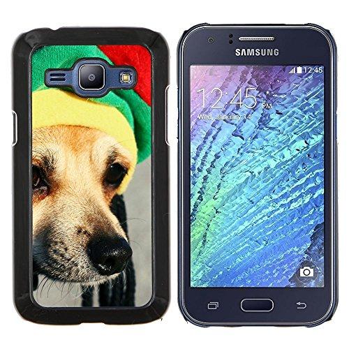 Rasta Mütze Dog Chihuahua Muzzle Schnauze - Aluminum & Hartplastik Telefonkasten - Schwarz - Samsung Galaxy J1 / J100